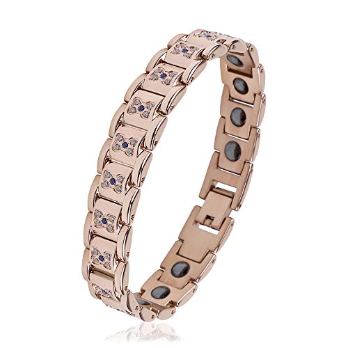 (iZion Men Women Therapy Bracelet 18 Magnets Premium Stainless Steel Rhinestone Link Pain Relief for Arthritis and Carpal Tunnel (Rose Gold) )