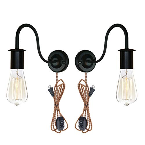 STGLIGHTING 2-Pack Minimalist Single Socket Vintage Industrial Loft Style Wall Sconce E26 UL Weave Rope Plug-in Dimmer Switch Cord Lighting Black Bulb Included