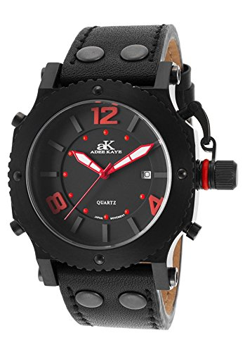 Adee Kaye Ak6467mipb-Lb Men's Black Genuine Leather And Dial Red Accents Black Ip Ss Watch