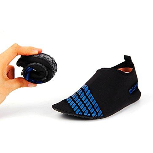 JIASUQI Frauen und Herren Classic Barfuß Wasser Sport Haut Schuhe Aqua Socken für Beach Swim Surf Yoga Übung Schwarz Blau