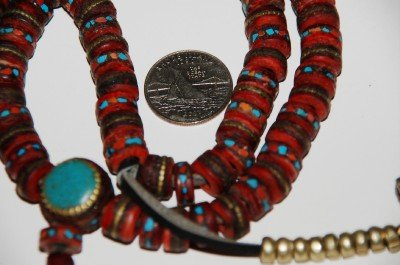 - Old Flat Yak Bone Mala Inlayed with Coral and Turquoise