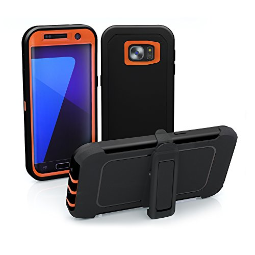 Galaxy S7 Edge Case, ToughBox [Armor Series] [Shock Proof] [Black | Orange] for Samsung Galaxy S7 Edge Case [Built in Screen Protector] [Holster & Belt Clip] [Fits OtterBox Defender Series Clip]