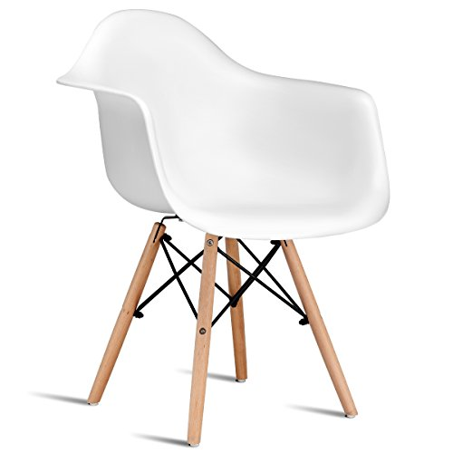 Giantex Modern Molded Dining Armchair Mid Century Plastic Side Chair w/Dowel Wood Eiffel Legs for Dining Room Kitchen, Bedroom, Lounge, Office Lightweight Easy Assembly White (1)