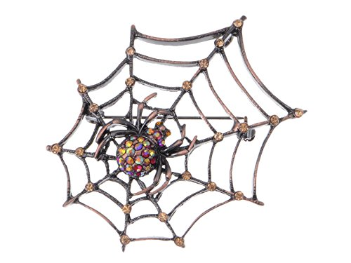 ALILANG Copper Tone Light Topaz Colored Rhinestones Antique Spider Web Brooch Pin