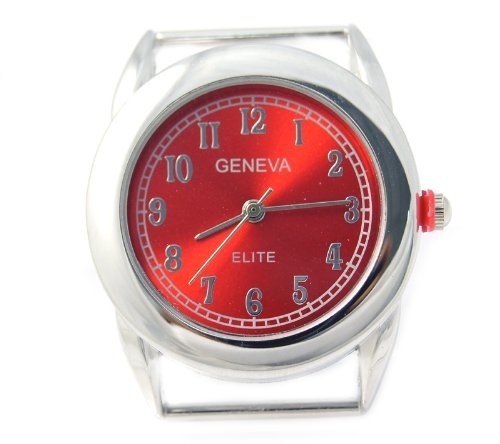 Geneva Elite Red Dial Ribbon Bar Round Watch Face for Beading