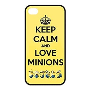 Keep Calm On And Love Minions Despicable Me New Style for iphone 5 5s Best Rubber Cover Case-Creative New Life