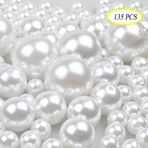 Pearl Plastic Beads - Jangostor Elegant Glossy Polished Pearls Assorted Plastic Loose Beads for Vase Fillers, DIY Jewelry Necklaces, Table Scatter, Wedding, Birthday Party Home Decoration (White)