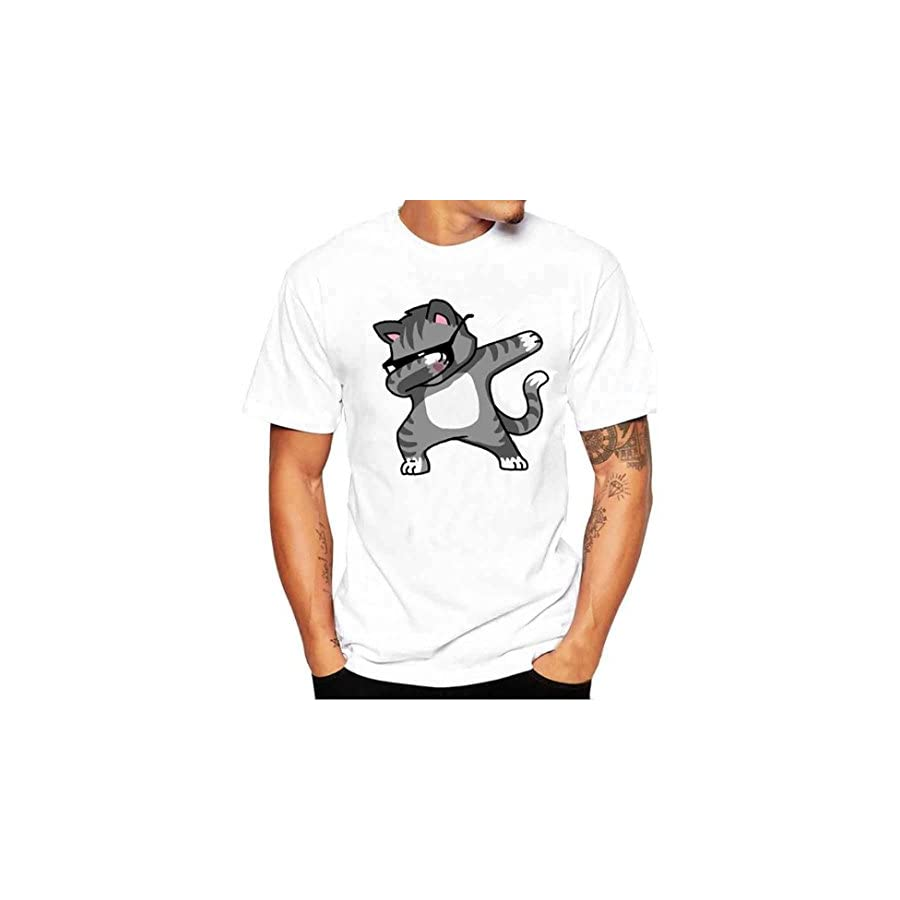 iLH® ZYooh Fashion Mens Round Neck T Shirt,Panda Printing Casual Short Sleeve Tee Cotton Solid Color Short Tops