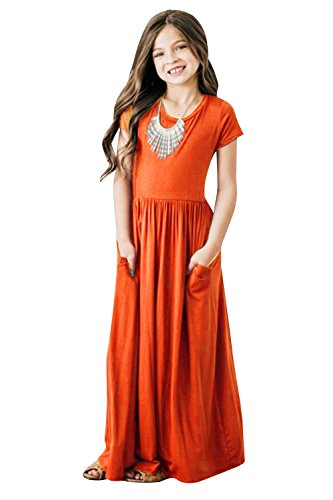 Girls Dresses Short Sleeve Holiday Casual Summer Swing Long Maxi Dress with Pockets (4-5years/Height:39in, Orange)]()