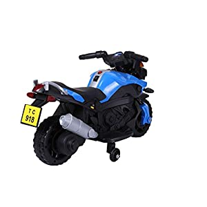 Kids Ride On 6V Electric Powered Motorcycle Bike Toy with Training Wheels with AUX Plug, Blue