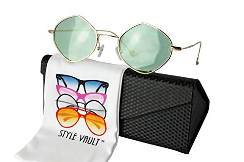 W3033-EC Style Vault Metal Hexagon Pentagon Sunglasses (B3407F Gold-mint green, - 90s Round Style Sunglasses