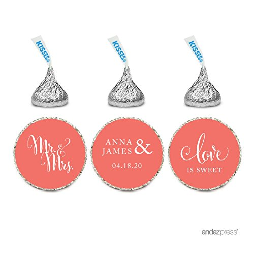 Andaz Press Personalized Chocolate Drop Labels Stickers, Wedding Love is Sweet, Deep Coral, 216-Pack, Custom Name, For Bridal Shower Engagement Hershey's Kisses Party Favors -