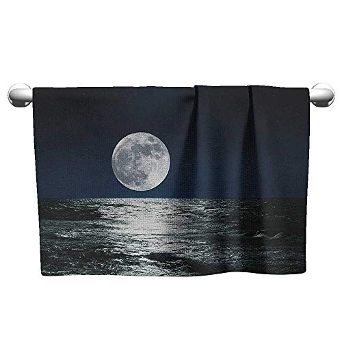 xixiBO Towel W39 x L10 Moon,Big Moon and Its Reflection on The Sea Open Sky Ethereal Drawing Style, Dark Blue Black White Towel Swimsuit Shower