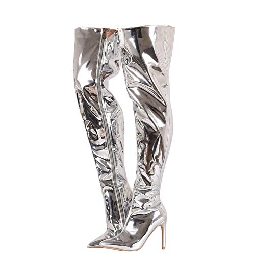 Themost Boot for Women Women's Long Thigh High Metallic Mirror Pointy Toe Stiletto Heel Over The Knee Tall - High Heels Metallic Knee
