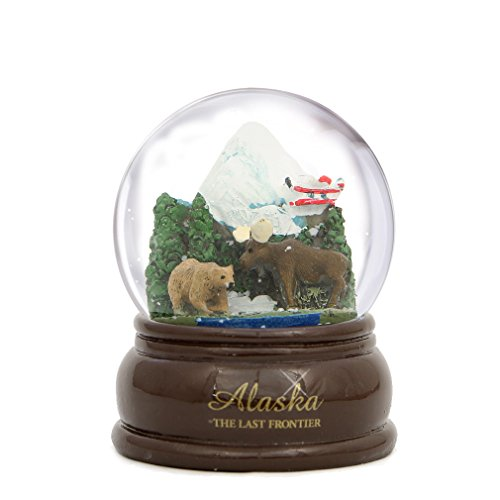 Alaska Snow Globe 3.5 Inch with Bear, Moose and Plane on Snow Mountain, Alaska