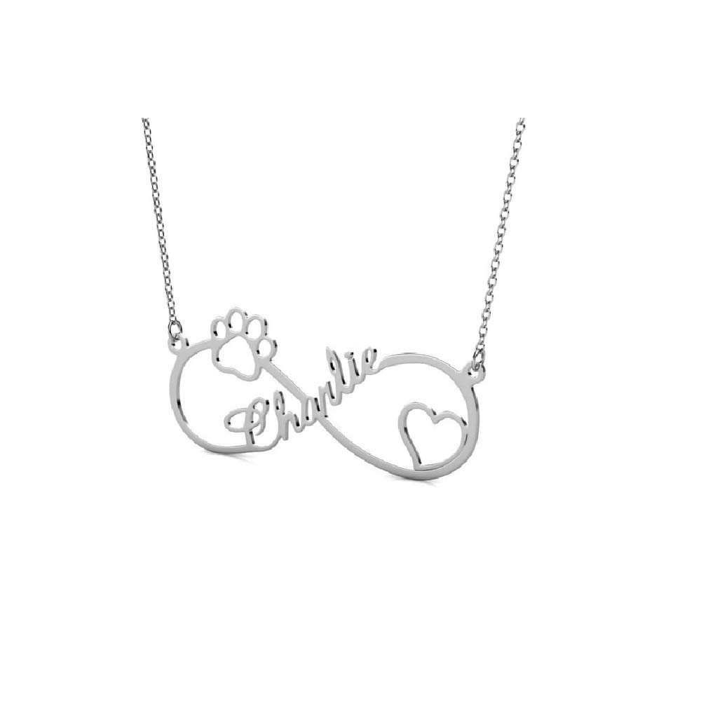 PEIMKO Personalized Infinity Name Necklace with Cut-Out Paw Heart Custom Made with Name