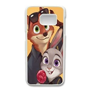 Generic Fashion Hard Back Case Cover Fit for Samsung Galaxy S7 Cell Phone Case white Zootopia with Free Tempered Glass Screen Protector STR-3301808