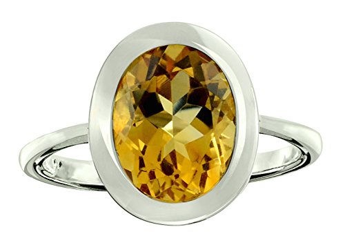 RB Gems Sterling Silver 925 Ring Genuine Gemstone Oval 10x8 mm with Rhodium-Plated Finish, Bezel-Setting (10, Citrine) ()