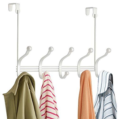 Medium Door White (mDesign Decorative Over Door 10 Hook Steel Storage Organizer Rack for Coats, Hoodies, Hats, Scarves, Purses, Leashes, Bath Towels & Robes - Pearl White)