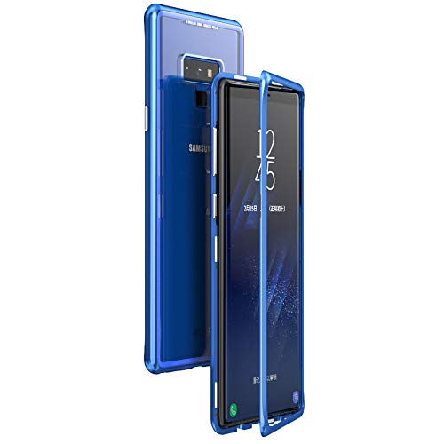 best loved 8fab0 9a7f4 Omio for Galaxy Note 9 Magnetic Case Luxury Metal Frame Tempered Glass Back  Cover for Galaxy Note 9 Case 360 Protection Shock Absorption Anti-Scratch  ...