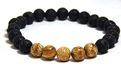 Mens Lava and Jasper Beaded Bracelets Stone of Strength Black Brown Gemstone Jewelry Earthy