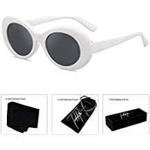 TEDDITH Clout Goggles Oval Sunglasses Rapper Kurt Cobain Style Retro MOD Shades White Frame Dark Lens with Beaded Glasses Chain