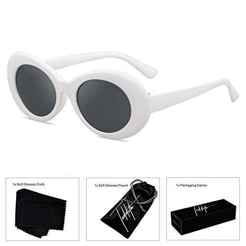 TEDDITH Clout Goggles Oval Sunglasses Rapper Kurt Cobain Style Retro MOD Shades White Frame Dark Lens with Beaded Glasses - Online Purchase Goggles