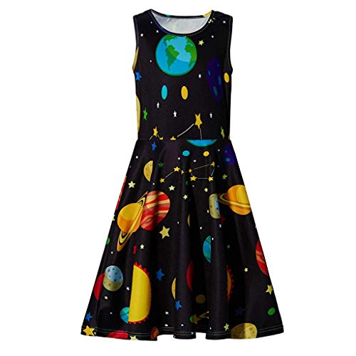 MALLOOM Youth Teen Kids Girl Sleeveless Planets Print Dress School Party Sundress Clothes Black