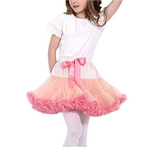 Baby Girls Tulle Pleated Tutu Skirt Princess Fluffy Soft Ballet Birthday Party Dance Pettiskirt Christmas Halloween Costume (5-7T, Peach and Coral)