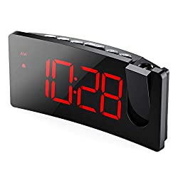 PICTEK Projection Alarm Clock, 5'' LED Curved-Screen, 3-Level Dimmer, 12/24H, Easy Operation, USB Phone Charging Port, Snooze, 120° Rotatable Projector, Digital Alarm Clock for Bedroom Kid Senior