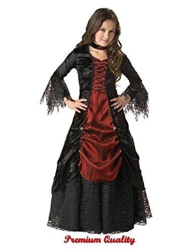 [InCharacter Costumes, LLC Girls 7-16 Gothic Vampira Gown Set, Black/Burgundy, 8] (Couples Scary Costumes)