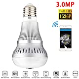 JANEDI WiFi Bulb Camera 360 Degree Panoramic IR Motion 3.0MP 2048x1536P HD Wirless Hidden Camera Bulb Light and Infrared Night Vision for Home Security Systems