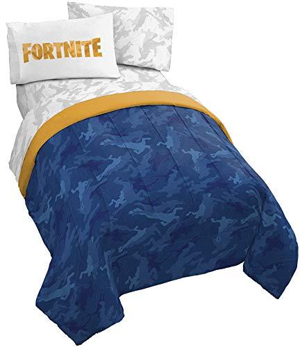 Jay Franco Fortnite Emote Camo 5 Piece Full Bed Set - Includes Reversible Comforter & Sheet Set - Super Soft Fade Resistant Microfiber - (Official Fortnite Product) (Girls Camo Comforter Sets)