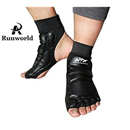 Runworld Taekwondo Training Boxing Foot Protector Gear Martial Arts Fight Muay Thai Kung Fu Tae Kwon Do Feet Protector TKD Foot Support for Men Women Kids Children