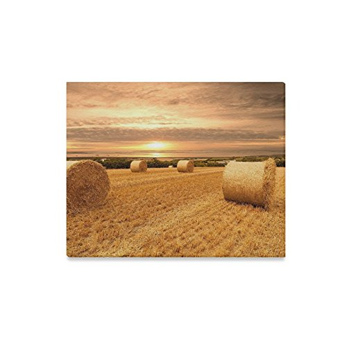 Canvas Print Bales Hay Sunny Days Modern Wall Art for Home Room Office Decoration (20x16 inch)]()