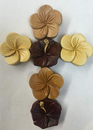 Tiki Handmade Cross Hawaiian Flower Design (Hawaiian Cross)