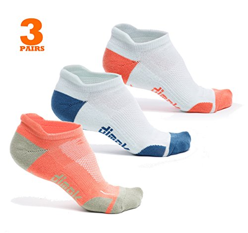 (dimok Athletic Running Socks - No Show Wicking Blister Resistant Long Distance Sport Socks for Men and Women (Mixed3, Medium))