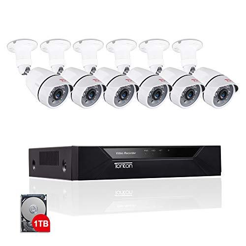 [Expandable System] Security Camera System,Tonton 8CH 1080P Video Security System with 1TB HDD,6pcs 2.0MP Indoor/Outdoor Waterproof Cameras,100ft Night Vision,Plug&Play,Easy Remote Viewing -
