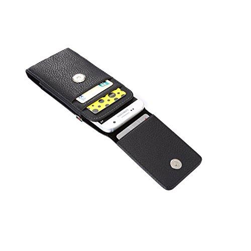 Lordwey® Funda 5.2inch universal teléfono móvil cinturón caso de la bolsa, Vertical cuero de la PU caja de la cartera de la cintura para el Samsung S7/Huawei P9/Xiaomi Redmi 4 -negro negro