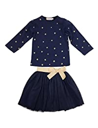 Jastore Girls Blue Cartoon Clothing Sets Long Sleeve Top+Tutu Skirt Kids Clothes