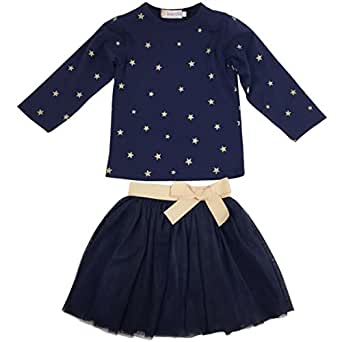 Jastore Girls Blue Cartoon Clothing Sets Long Sleeve Top+Tutu Skirt Kids Clothes (6T)