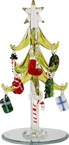 LSArts Glass Christmas Tree with Ornaments, Green, 6 Inch, Gift Box