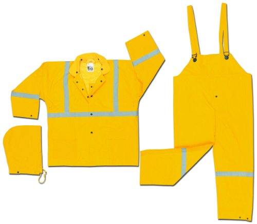 - MCR Safety 2403RL Luminator PVC/Polyester 3-Piece Corduroy Collar Suit with Detachable Hood and Reflective Material Tape, Yellow, Large