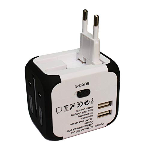 Universal European Travel Plug Adapter, Ejiad European Travel Plug Adapter and Converter, Power Plug Adapter Electric Adapters for International Travel (2USB-White+Black)