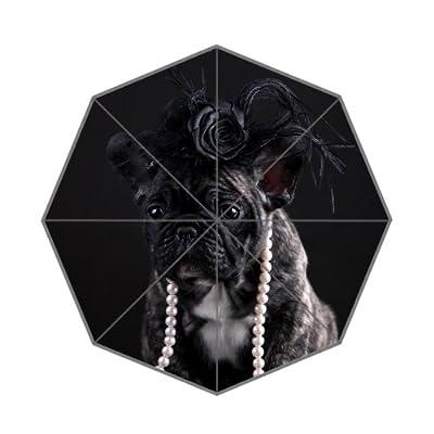 110,2x 65cm Mode Bouledogue français Noir Parapluie pliable