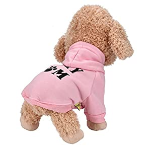 Howstar Pet Clothes, Puppy Hoodie Sweater Dog Coat Warm Sweatshirt Love My Mom Printed Shirt (L, Pink)