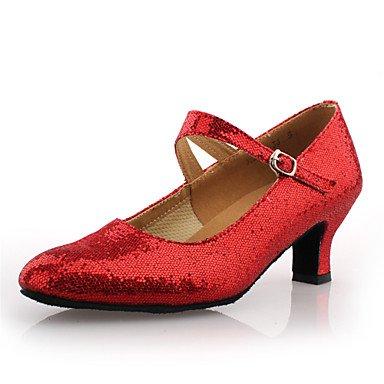 Couro Sapatos Mulheres Imitação Cn Uk5 De Não Salão De Eu38 Moderna Dança Xiamuo 38 Us7 5 Prata De 5 Personalizável Fúcsia Calcanhar qgwpnPB