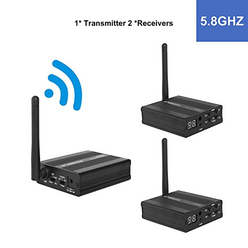 TP-WIRELESS 2.4GHz/5.8GHz Digital Wireless HDCD Audio Adapter Music Sound Transmitter and Receiver (5.8GHz 1 Transmitter and 2 Receivers) by TP-WIRELESS