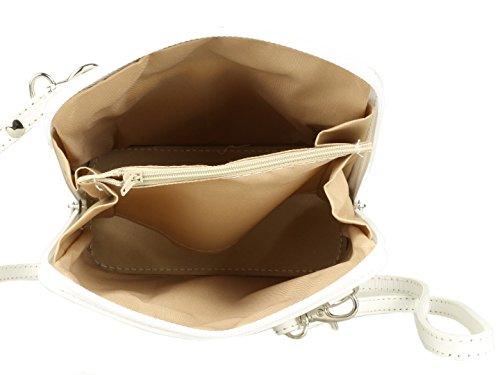 De Piel Italiana Girly Auténtica Blanco Handbags Bandolera Rígida aZRnZO