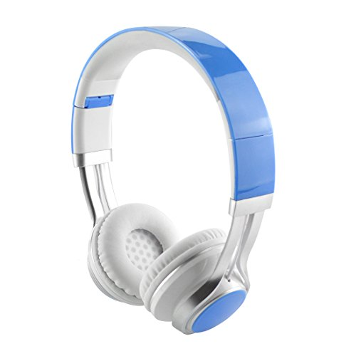 EARFUN EF-E6 Women's On-Ear Headphones with Mic, Lightweight Foldable Headphone with Microphone, Sized to fit Women and Girls (Blue White)